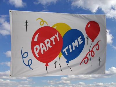 Party Time Fahne / Flagge 150 x 250 cm