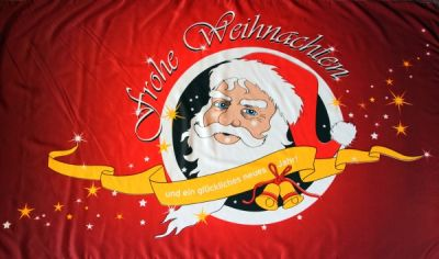 Frohe Weihnachten Fahne / Flagge Nikolaus Rot 90x150 cm