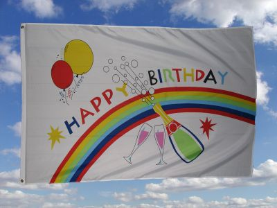 Happy Birthday Fahne/Flagge 150x250 cm