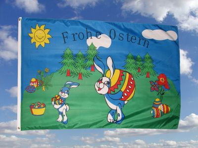 Frohe Ostern Fahne / Flagge 90x150cm Nr. 2